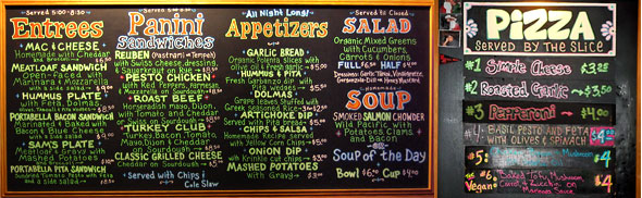 Sam Bonds Menu